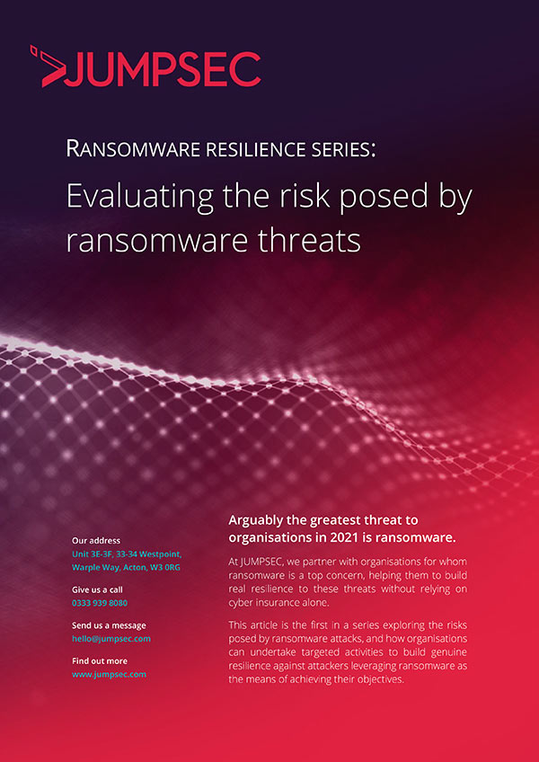 risk posed by ransomeware threats