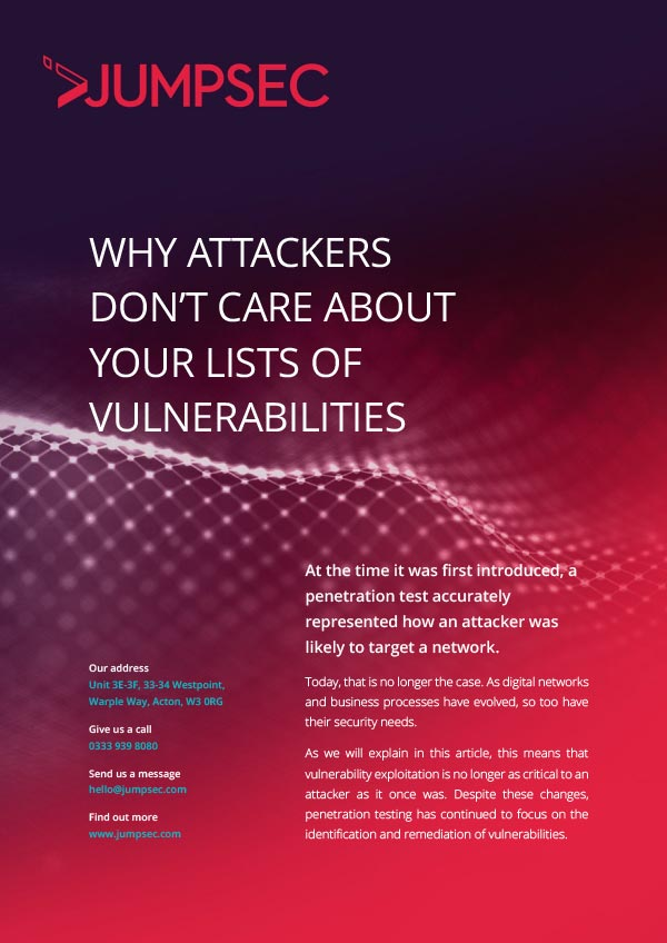 your lists of vulnerabilities 1